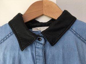 Maje Jeans blouse zwart-azuur Katoen