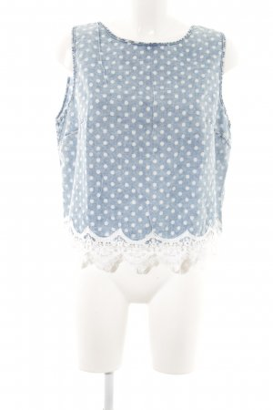 Denim Co. Blusa sin mangas azul acero-blanco moteado Estilo playero