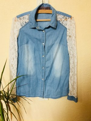 Denim Co. Chemise en jean blanc-bleu azur