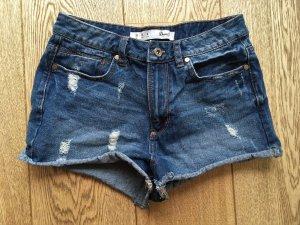 Denim Co. Short moulant gris ardoise-bleu foncé coton