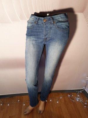 Denim & Co Jeans Knopfleiste High waist 28/32 Skinny Röhre Strech
