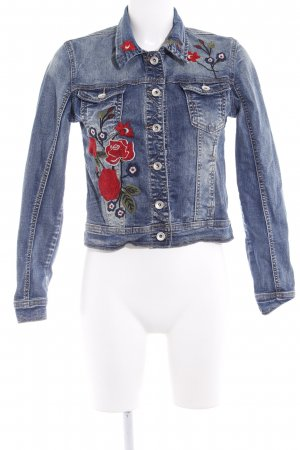 Denim Co. Jeansjacke stahlblau-dunkelrot florales Muster Jeans-Optik