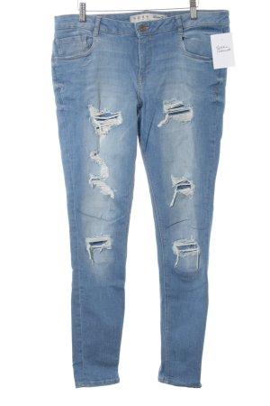 Denim Co. Skinny Jeans himmelblau Destroy-Optik