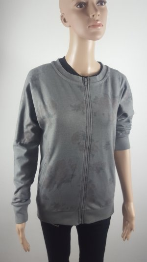 Veste sweat gris anthracite-gris coton