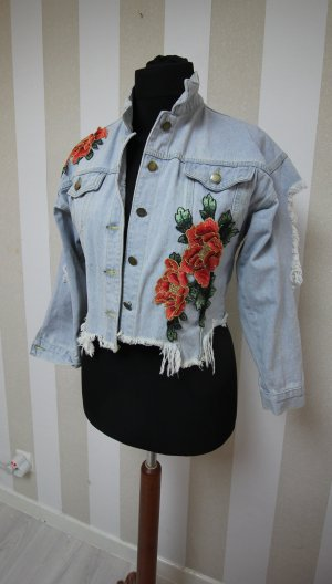 Denim Jeans Crop Jacke Rosen Cut Out Ripped Destroyed