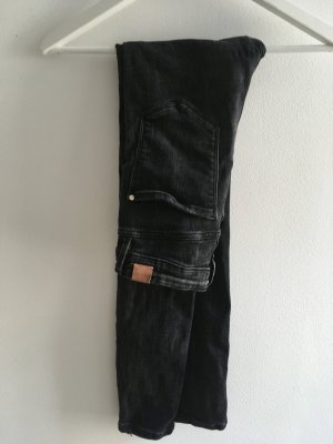 Zara Pantalón de cintura alta gris antracita-negro Poliéster