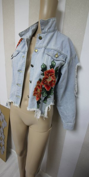 DENIM JEANS JACKE MIT ROSEN IM DESTROYED CUT OUT RIPPED LOOK