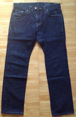 Denim Jeans slim gerade dunkelblau