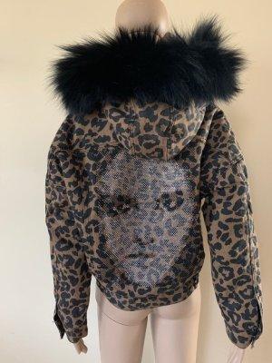 Denim leopard jacket with fox fur
