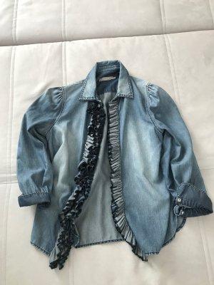 Denim-Look. Rüschen-Bluse im Jeanslook mit fließendem Stoff von Stefanel. Seide-Baumwolle-Gemisch