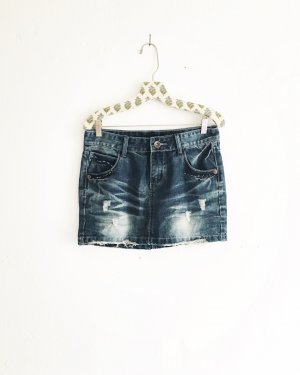 denim rock / jeans rock / mini / vintage / blue jeans / boho / hippie / edgy