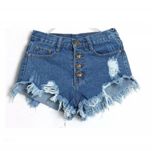 Denim Shorts High Waist XS 34 Dunkelblau Risse Fransen Destroyed
