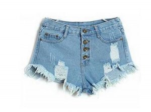Denim Shorts High Waist XS 34 Hellblau Risse Fransen Destroyed