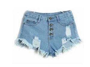 Denim Shorts High Waist XS 34 Hellblau Risse Fransen Destroyed