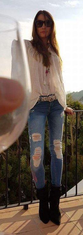 DENIM & SUPPLY RALPH LAUREN Bluse mit Spitzenbesatzhippie Ibiza boho coachella