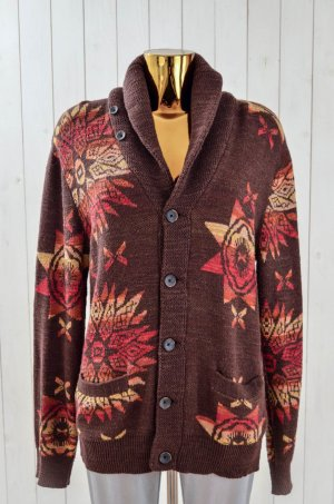 DENIM & SUPPLY Ralph Lauren Damen Cardigan Strickjacke Etno Braun Rot Gr.S