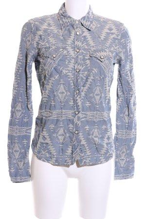 Denim & Supply Ralph Lauren Jeansbluse blau-wollweiß grafisches Muster