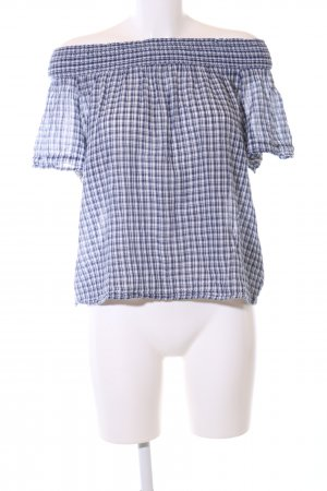 Denim & Supply Ralph Lauren Kurzarm-Bluse weiß-blau Karomuster Casual-Look
