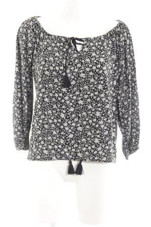Denim & Supply Ralph Lauren Langarm-Bluse schwarz-hellgrau Blumenmuster