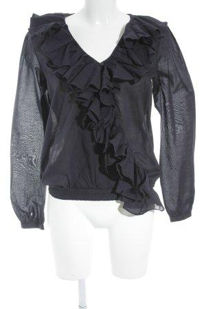 Denim & Supply Ralph Lauren Ruche blouse donkerblauw zakelijke stijl