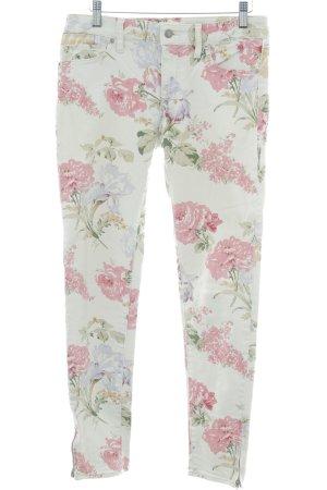 Denim & Supply Ralph Lauren Skinny Jeans hellbeige-pink Blumenmuster