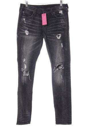 Denim & Supply Ralph Lauren Skinny Jeans schwarz-hellgrau Used-Optik