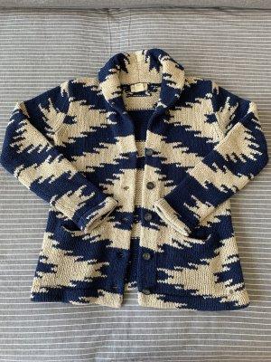 Denim & Supply Ralph Lauren Coarse Knitted Jacket blue-oatmeal cotton