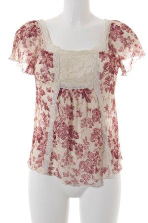 Denim & Supply Ralph Lauren Transparenz-Bluse creme-dunkelrot Boho-Look