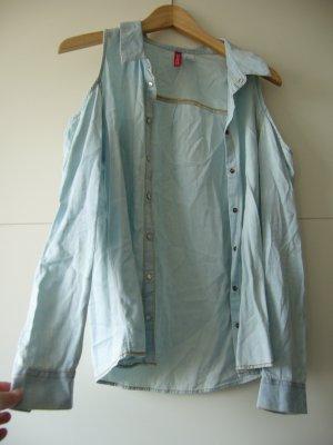 Denimhemd Jenashemd Cold Shoulder hellblau H&M XS 34 100% Baumwolle
