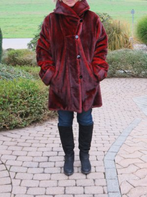 Dennis Basso Fake Fur Coat carmine-brick red