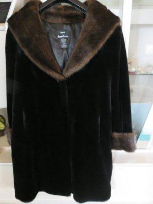 Dennis Basso Manteau en fausse fourrure noir-brun tissu mixte