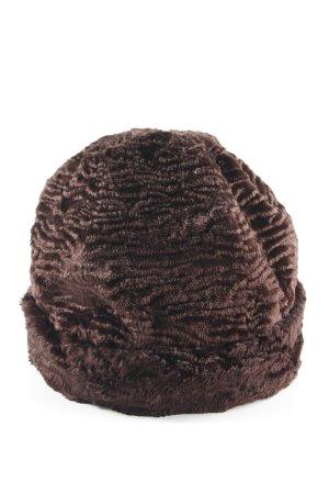 Dennis Basso Chapeau en tissu brun foncé style classique