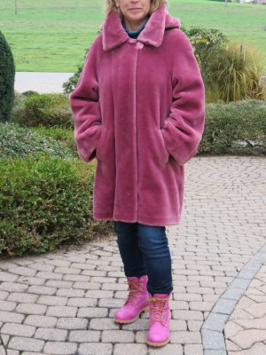 Dennis Basso Fake Fur Coat neon pink-pink mixture fibre