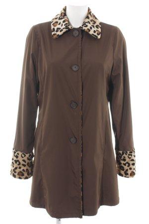 Dennis Basso Chaqueta reversible color bronce-crema estampado de leopardo
