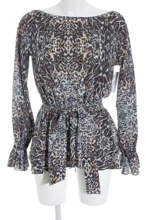 Denny Rose Langarm-Bluse schwarz-braun Animalmuster Animal-Look