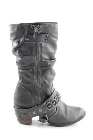 Depeche Absatz Stiefel schwarz-weiß Casual-Look
