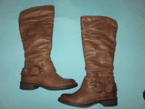 Depeche Botas de equitación marrón-color bronce Cuero