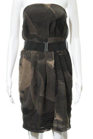Dept Vestido bandeau beige-negro estampado con diseño abstracto elegante