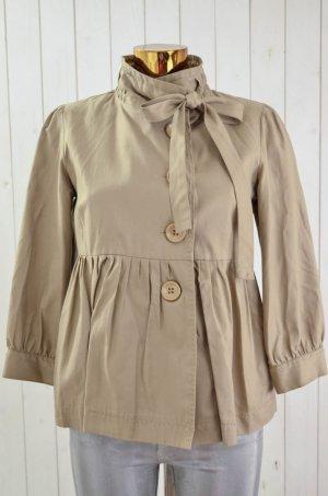 DEPT Damen Jacke Beige Baumwolle 3/-Arm Schößchen Falten Stehkragen Gr.M