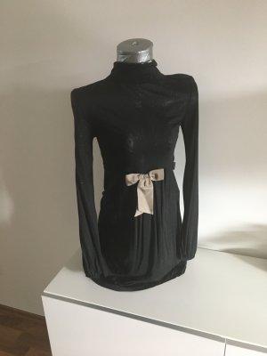 DEPT Knielanges schwarzed Kleid mit Glitzer und Schleife, Gr S