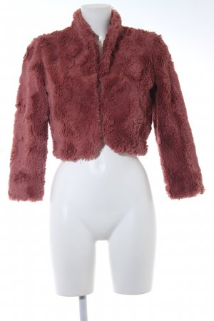 Dept Fake Fur Jacket raspberry-red romantic style