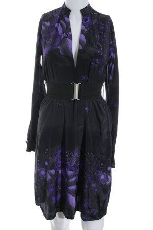 Dept Long-Bluse schwarz-lila Blumenmuster extravaganter Stil
