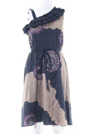 Dept One-Shoulder-Kleid blau-creme Blumenmuster Casual-Look