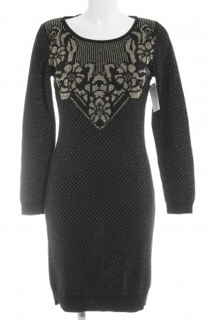 Dept Sweater Dress black-gold-colored abstract pattern casual look