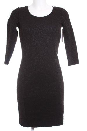 Dept Vestido de tubo negro estampado con aplicaciones elegante