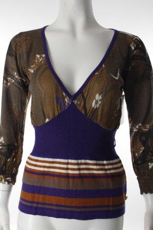 Dept Shirt graubraun-blauviolett abstraktes Muster Casual-Look