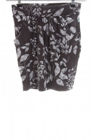 Dept Stretch Skirt black-white flower pattern casual look