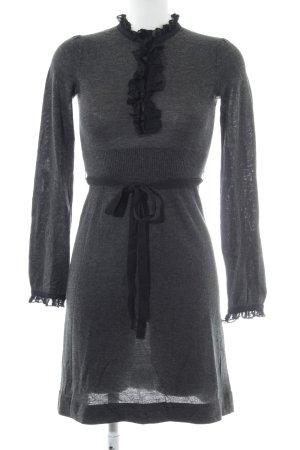 Dept Gebreide jurk donkergrijs-zwart casual uitstraling