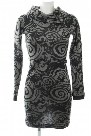 65ddb4d31b0a31 Dept Gebreide jurk zwart-grijs bloemen patroon elegant