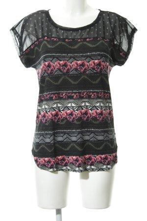 Dept T-Shirt schwarz-magenta florales Muster Casual-Look